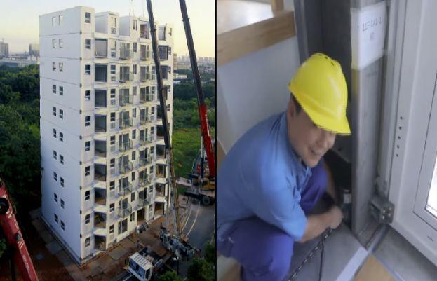 چین میں ایک دن میں 10 منزلہ عمارت کو تعمیر کر لیا گیا
